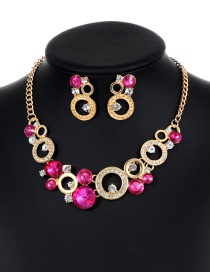 Fashion Plum-red Round Shape Decorated Hollow Out Jewelry Sets