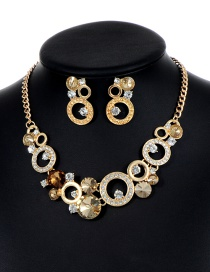 Fashion Champagne Round Shape Decorated Hollow Out Jewelry Sets