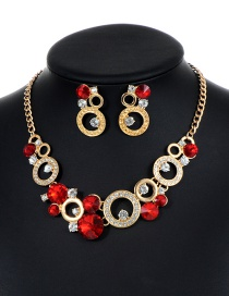 Fashion Red Round Shape Decorated Hollow Out Jewelry Sets