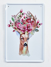 Fashion Plum-red Deer&flower Pattern Decorated Hang Painting