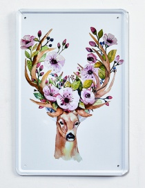 Fashion Pink+green Deer&flower Pattern Decorated Hang Painting