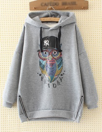 Fashion Gray Owl Pattern Decorated Hoodie