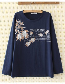 Fashion Navy Leaf Shape Decorated T-shirt