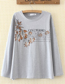 Fashion Gray Leaf Shape Decorated T-shirt