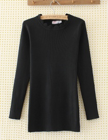Elegant Black Pure Color Decorated Sweater