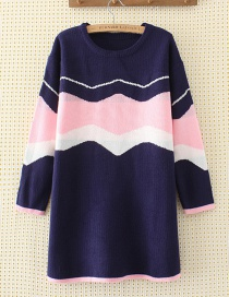 Elegant Navy Color-matching Decorated Sweater