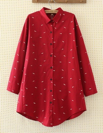 Elegant Red Fish Shape Decorated Shirt