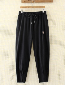Fashion Black Shield Shape Decorated Pants