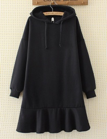 Fashion Black Pure Color Decorated Long Hoodie