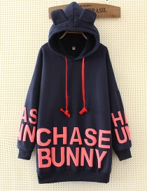 Fashion Navy Ear Shape Decorated Long Hoodie