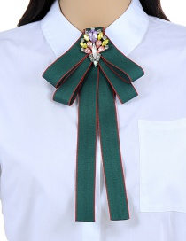 Elegant Green Color-matching Decorated Bowknot Brooch