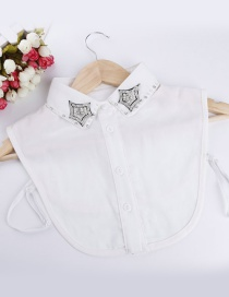 Lovely White Star Shape Decorated Fake Collar