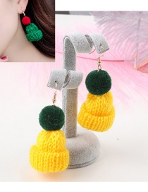 Fashion Yellow Hat Shape Decorated Earrings