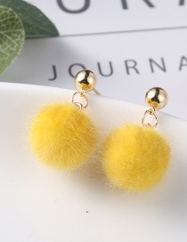 Lovely Yellow Fuzzy Ball Decorated Pom Earrings