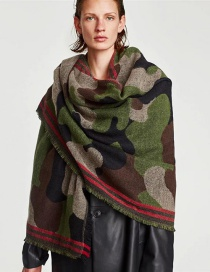 Fashion Army Green Color-matching Decorated Shawl