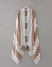 Fashion Khaki+white Color-matching Decorated Scarf
