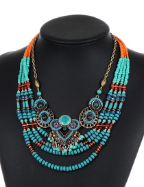 Fashion Green Hollow Out Decorated Multilayer Necklace