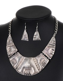 Elegant Silver Color Triangle Shape Decorated Jewelry Sets