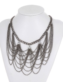 Elegant Silver Color Chain Decorated Necklace