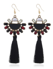 Elegant Black Semicircle Decorated Tassel Earrings