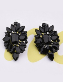 Elegant Black Pure Color Decorated Earrings