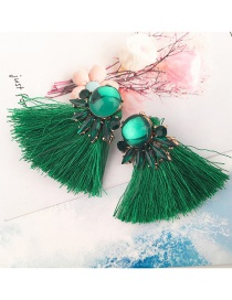 Bohemia Green Pure Color Decorated Tassel Earrings