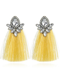 Elegant Yellow Waterdrop Shape Decorated Tassel Earrings