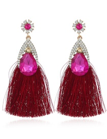 Bohemia Dark Red Waterdrop Shape Decorated Jewelry Sets