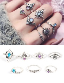 Fashion Silver Color Water Drop Shape Decorated Ring ( 7 Pcs )