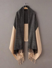 Fashion Black+beige Tassel Decorated Scarf