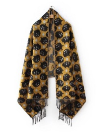 Fashion Yellow Cat Pattern Decorated Scarf