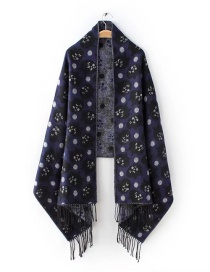 Fashion Navy Blue Cat Pattern Decorated Scarf