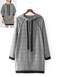 Fashion Gray Grid Pattern Decorated Dress