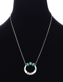 Fashion Antique Silver Circular Ring Shape Decorated Necklace