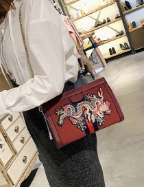 Fashion Red Embroidery Dragon Decorated Shoulder Bag