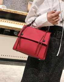 Fashion Red Square Shape Decorated Shoulder Bag