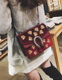 Fashion Red Bee Pattern Decorated Shoulder Bag