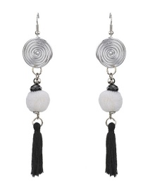 Fashion White Ball&tassel Decorated Pom Earrings