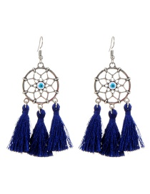 Fashion Silver Color+navy Tassel Decorated Earrings