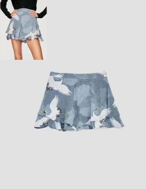 Fashion Blue Crane Pattern Decorated Shorts