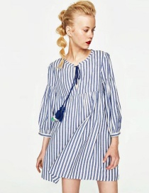 Fashion Blue+white Stripe Pattern Decorated Dress