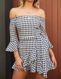 Fashion Black+white Gird Pattern Decorated Dress