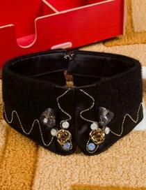 Fashion Black Flower Shape Decorated Fake Collar