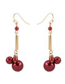 Fashion Gold Color+red Pearl Decorated Earrings