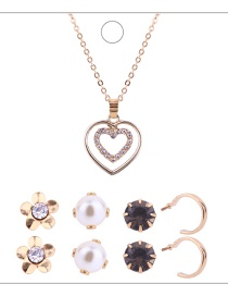 Fashion Gold Colour Heart Shape Decorated Jewelry Set ( 9 Pcs )