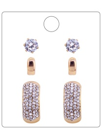 Fashion Gold Colour Pure Colour Decorated Earrings ( 6 Pcs)