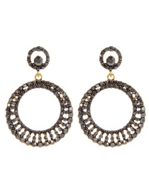 Fashion Antique Gold Circular Ring Shape Decorated Earrings