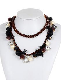 Fashion Coffee Triangle Shape Decorated Necklace