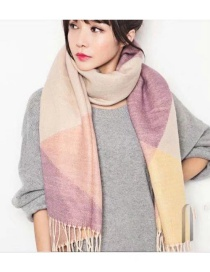 Fashion Light Purple Tassel Decorated Scarf