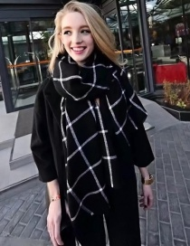 Fashion Black Grid Pattern Decorated Scarf